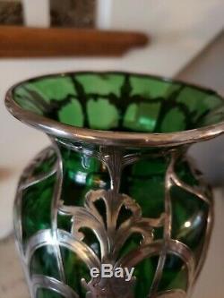 Art Nouveau Antique Vase En Verre Vert Avec Argent Fin (999/1000) Recouvrement Alvin