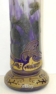 Art Nouveau Daum Nancy Grasshopper Iris Vase En Verre Camée Doré Français 22 Pouces