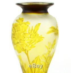 Art Nouveau Drogonfly Cameo Vase En Verre Galle Design'libellula ' Glas Vase Gelb