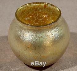 Art Nouveau Européen Verre Loetz Antique Rare Vase Irisé Candia Menthe