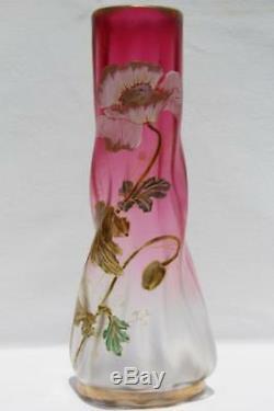 Art Nouveau Legras France Vase En Verre Cranberry Givré Émaillé Givre