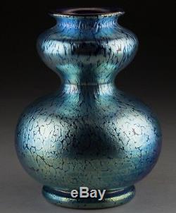 Art Nouveau Loetz Veuve Cobalt Creta Papillon Vase. 1900