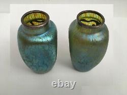 Art Nouvel Loetz Vert Iridescent Pair Vases En Verre D'art Superposition Argent