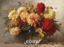 Art Peinture À L'huile Belle Vie Morte Fleurs De Pivoine En Vase De Verre Peint À La Main