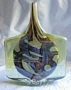 Art Vintage Mdina Verre Malte, Poisson Ax Tête Fine Tige Unique Vase