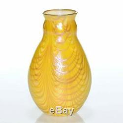 Au Début Charles Lotton Iridescent Art Glass Lincoln Drapé Vase- 1977 Daté Signé