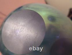 Au Début Robert Eickholt Art Blue Glass Aurene Vase Ovoïde Etendu Soufflé À La Bouche 1987