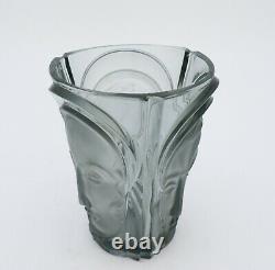 August Walther & Sohne Beau Verre De Vase Art Déco Trois Visages