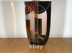 Authentique Géométrique Art Déco Vase En Cristal Des Années 1930, Superbe! Karl Palda