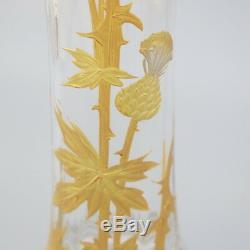 Baccarat Antique Vase À Fleur Français En Cristal Art Nouveau Chardon En Émail Doré Doré