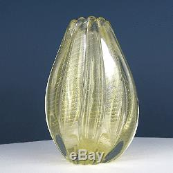 Barovier & Toso Cordonato D'oro Vase En Verre À La Feuille D'or De Murano, Italie, 1950s
