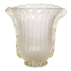Barovier & Toso Vase Vaso Art Deco En Verre De Murano Signé De La Feuille D'or Trempé VM 71
