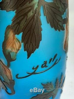 Beau Style Art Galle Cameo Verre Drapage Conception Florale Vase Bleu Turquoise