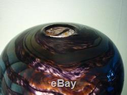 Beau Vase En Verre Art Vintage Peter Layton Superbe Design 1987 Article Rare