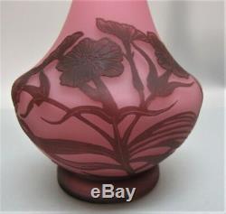 Beau Vase En Verre Cameo Signé Rose Loetz Richard V.