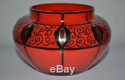 Beau Vase En Verre Loetz Tango Art Nouveau Avec Peinture En Émail, C1915