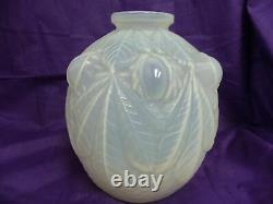 Beautiful Anticique Art Deco Signed Etling France Blanc Opalescent Vase Ca 1920s