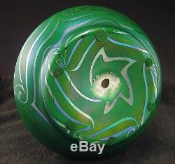 Belle Durand King Tut Art Vase En Verre Ca. 1924 Signé 9 Tiffany Quezal Era