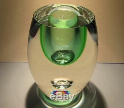 Beranek Studio Art Glass Vase En Cristal Vert Soufflé À La Bouche Tchèque Bohême Bohême