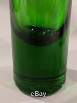 Blenko 23 Myers Grand Vert Art Glass Vase MCM Bouteille Étage Decanter Excellente