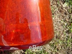 Blenko Architectural 34 MCM Orange Tangerine Art Glass Decanter Ou Vase