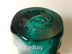 Blenko Art Glass Vase Aqua # 609 Wayne Husted Signe Mid-century Modern Vtg 1959