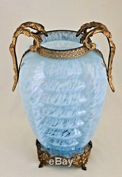Bohème Art Déco Agua Bleu Nervuré Spatter Vase En Verre 11.5 Gilt Métal Mounted