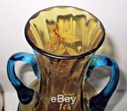 Bohème Art Glass Vases Moser Floral Couple Appaire Ambre Bleu Victorien