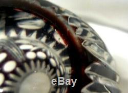Bohême / Tchèque Art Glass Cut Noir Clear Vase Belle Lourd