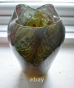 Bohemian Art Nouveau Jugendstil Vase En Verre Irrisé