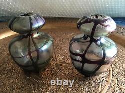 Bohemian Art Nouveau Vase D'art Irisée Irisée Vase De Verre Gourde Vases Posy Kralik