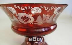 Bol Central Avec Rubis Antiques Et Rubis Sur Verre Clair, Env. Vase D'art Allemand De 1920