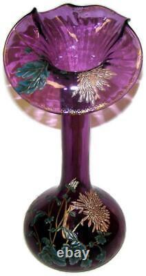 C1890 Mont Joye Legras Verre D'art Français Émaillé Art Nouveau Purple 14 Vase