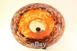 C1920 Antique Schneider Français Art En Verre Et En Fer Forgé Compote Footed Bowl Vase