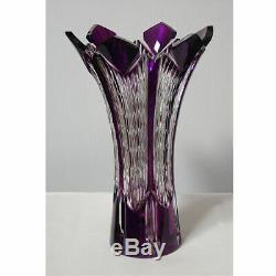 Caesar Crystal Violet Vase Clear Cut Overlay Tchèque Bohême Cased Verre Art