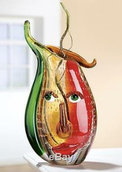 Célébration Massive De Picasso Free-formation Art Glass Vase À Visage Abstrait