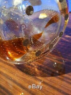 Cenedese Vetri Murano Art Vase En Verre Transparent Carrés Carrés D'ambre Prix De Détail 1997 $ 13,5 X 5