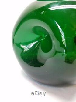 Century Vintage MID Art Moderne Bouteille En Verre Vert Vase Pincez Dimple 8 Blenko