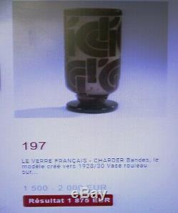 Charder Art Antique Schneider Français Déco Vase Cameo Décor Géométrique Bandes