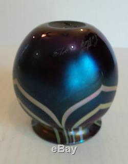 Charles Lotton Art Glass Vase, Daté Et Signé 1973