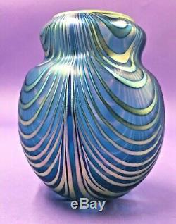 Charles Lotton Bleu Irisé Drapé Art Glass Vase Signé / Daté 1980