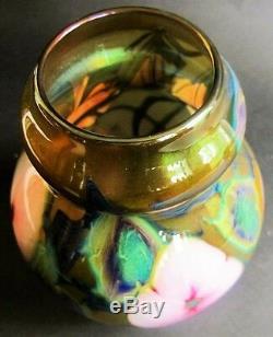 Charles Lotton Vase En Verre Art Multi-flora Daté 1976 Américain