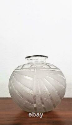 Charles Schneider Art Déco Gravé Vase En Verre Givré France Modernisme