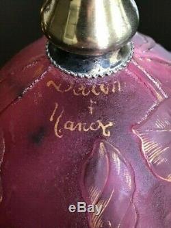 $ Chute De Prix! Daum Nancy Cameo Verre Art Nouveau Vase Base De Sterling Signé