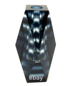 Classe Mondiale! Verre De Murano Art Facettes Space Age Bloc Vase Bleu Inhabituel Dusky