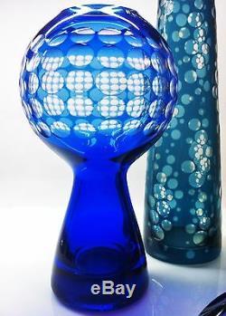 Collection De Vase Optique En Cristal Op Art, Ajka, Borské Sklo, Allemagne Studio 6pcs