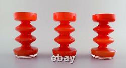 Collection De Verre D'art Suédois, 5 Vases Orange Au Design Moderne