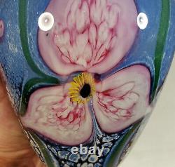 Complexe Gorgeeux 2002 Robert Eickholt Studio Art Glass Vase Blue Avec Fleurs Pink