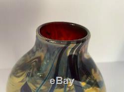 Craig Zweifel Hearts & Vines Ovale En Verre Irisé Art Vase, Signée Et Dated- Nr