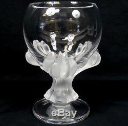 Cristal Lalique Bagheera Claw Art Glass Vase Pedestal Bowl Authentique
